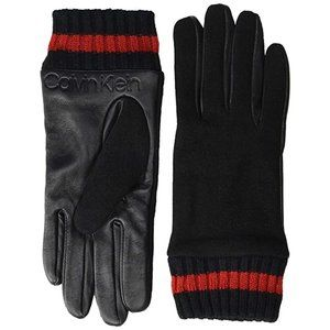 Calvin Klein Leather/Knit Combo Touch Gloves (Blac